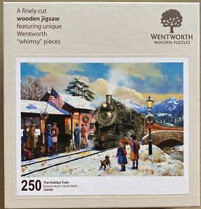 """WENTWORTH """"The Holiday Train"""" 250 piece Wooden JIGSAW PUZZLE Whimsy"""