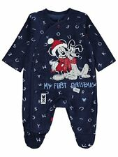Baby Boys Disney Mickey Mouse and Pluto My First Christmas Fleece Sleepsuit
