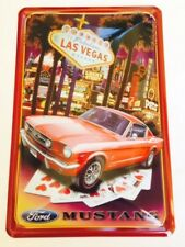 PLAQUE DECORATIVE FORD MUSTANG LAS VEGAS - BOMBEE -30 X 20 CM-NEUVE-DECO USA