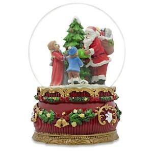 Santa Giving Christmas Gifts Musical Snow Water Globe Figurine