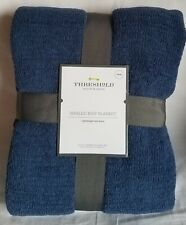 BLUE Marled Sweater Knit Chenille Bed Blanket TWIN- Threshold