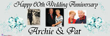 Personalised Party Photo Banner 60TH wedding ANNIVERSARY DIAMOND party banner