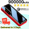 900000mAh Polymer Power Bank Portable LED External Battery Fast Charger 2USB