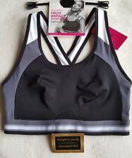 "NEW M&S HIGH IMPACT ""INFIN8"" NON WIRED SPORTS BRA 38D - BLACK MIX"