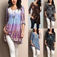 Women Loose 3/4 Sleeve Long Tunic Tops Blouse T-Shirt Dress Casual Summer
