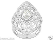 STERLING SILVER LAB CREATED DIAMOND FILIGREE RING 6 COCKTAIL RING VINTAGE STYLE