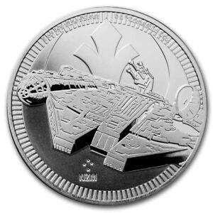 2021 NZM NIUE Star Wars MILLENNIUM FALCON .999 Fine Silver 1 oz bu coin in Caps.