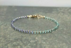 Natural Tanzanite, Apatite Faceted Gemstone Bracelet 14k Gold Over Beads & Clasp
