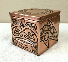 Vintage Haida American Indian Embossed Copper Foil Wooden Box