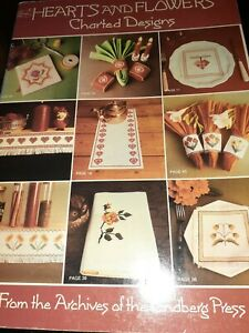Cross Stitch Hearts and Flowers Charted Designs 1986 Vintage Paperback  book
