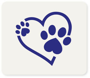 Paw Print Heart Crafting Card Making Face Painting Stencil 7cm x 6cm Reusable