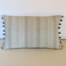 """NEW Kate Forman Anoushka Stone Fabric 20""""x12"""" Pom Pom or Piped Cushion Cover"""