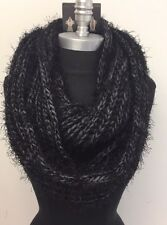 New Fashion 2-Circle Cable Knit Cowl Soft-Lines Infinity Scarf Wrap Black/Gray