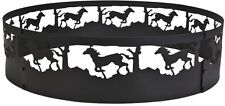 36 in. Fire Pit Ring Horses Design Backyard Wood Campfire Black Steel Shield New