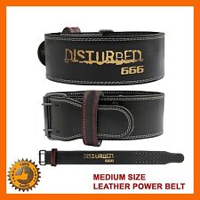 HEAVY DUTY GENUINE LEATHER POWER WEIGHT LIFTING BODYBUILDING FITNESS BELT SZ  M