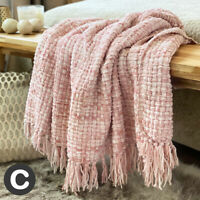 Luxury Woollen Touch Dusky Blush Pink Woven Soft Large Blanket Throw Bed Sofa