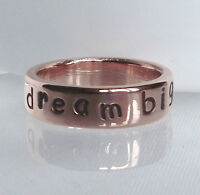 """Gorgeous Handmade Recycled Solid Copper Personalised """"dream big """" Ring any size"""