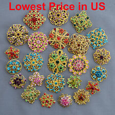 24 pcs lot Mixed Vintage Gold Style Rhineston Crystal Brooches Pins DIY Bouquet
