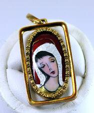 Madonna Vintage Enamel 18K Gold Pendant for Necklace Spritzer Fuhrmann