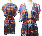 Becca swim M/L cover up Crinkle Chiffon red white blue patriotic gold chain