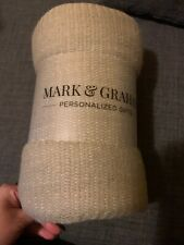 """Mark And Graham Colorblock Natural & Ivory Throw Blanket w/ Fringe 50"""" x 60"""" Nwt"""