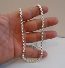 ITALIAN MADE 925 STERLING SILVER DESIGNER ROPE CHAIN /18 INCH LONG/ 4.5MM THICK