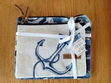 Two's Company Stay Salty Gettin' Nauti 2 Jute Pouches Nautical Anchor Theme Nwt