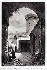 Ostia: interno della Rocca o Castello. Roma. Audot. Acciaio. Stampa Antica. 1836