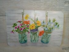 "New! Mason Jar Floral Plastic Placemats 17"" X 11.25"" Farmhouse Family Home"