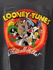 Looney Tunes Cast Characters Cartoon Gray Vintage Classic T-Shirt Unisex Xl