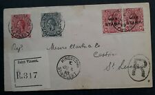 RARE 1918 St Vincent Registd Cover ties 4 stamps cancelled Kingstown to St Lucia