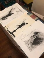 Pen and Ink Drawings Signed Lot Of 3. 90's By Chris Butler Original