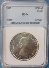1963 Canada Silver Dollar  NNC MS-64