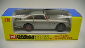 Corgi 270 Aston Martin DB5 Vintage1970 James Bond 007 Slimline Window Box VG Cdn