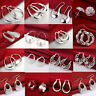 Fashion Women 925 Silver Plated Crystal Dangle Hoop Earrings Stud Jewelry Gift