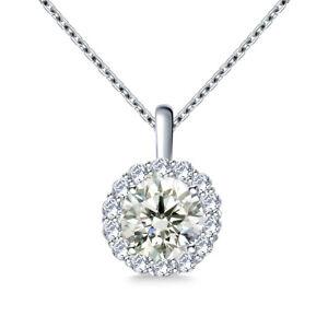 1.50 Ct Vvs1,NEAR WHITE ROUND MOISSANITE DIAMOND 925 Sterling SILVER PENDANT