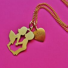 BE MINE VINTAGE KIDS COUPLE KISSING NECKLACE LOVE BRASS HEART VALENTINES CHARM