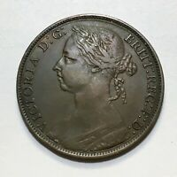 1891 Great Britain Penny, Queen Victoria, KM# 755, Extra Nice!