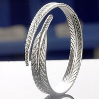 Fashion 925 Sterling Silver Vintage Angel Feather Bracelet Open Cuff Bangle