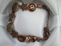 Vintage Pilgrim Danish Design Copper Enamel Rhinestone Star Circle Link Bracelet