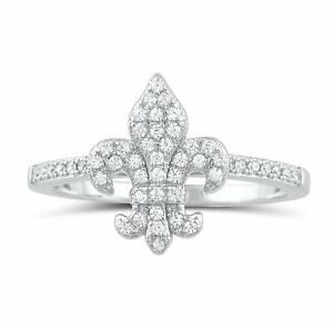 Fleur De Lis 18K White Gold Cubic Zirconia Ring Made With Swarovski Elements