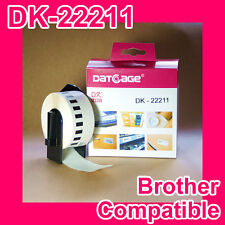10 Rolls of Compatible Brother DK-22211 White Continuous Film Roll