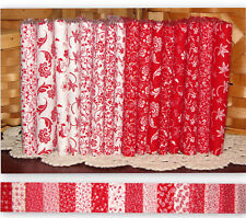 "True Red & White Quilters Florals Cotton Fabric Fat Quarter Set 16 FQ 18""X22"""
