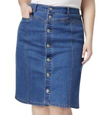 Jean Skirt 18W Plus Style&co NWT $59 Helena Blue Button Down Front Stretch J338