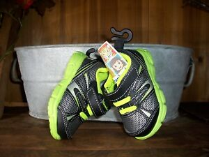 GARANIMALS BOYS TODDLER ATHLETIC SHOES SIZE 3 GRAY GREEN CASUAL PLAY SHOES NEW