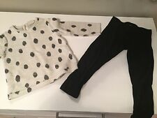ZARA Gray and black polka dot top 18 -24 months and Black leggings 2-3