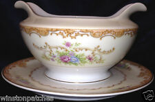 JAPAN CHINA G.H.B. & S. JUDITH GRAVY BOAT ATTACHED UNDER PLATE FLOWERS & SCROLLS