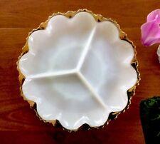 White Milk Glass Dish Devided 3 Compartments Gold Leaf Edge.