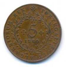 Azores Provincial Coinage Luiz I Portugal Copper 5 Reis 1880 XF KM#13
