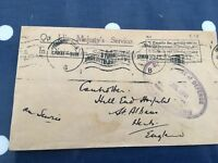 South Africa on HMS service letter Johannesburg to St albans July 1941